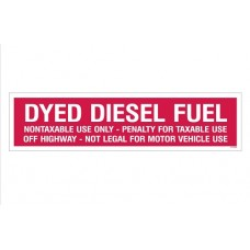 """Dyed Diesel Fuel"" Decal - Red - 3''x12''"